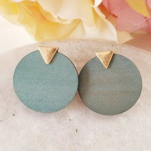 Jewelry - Boho Geometric Green Wood Disk Earrings